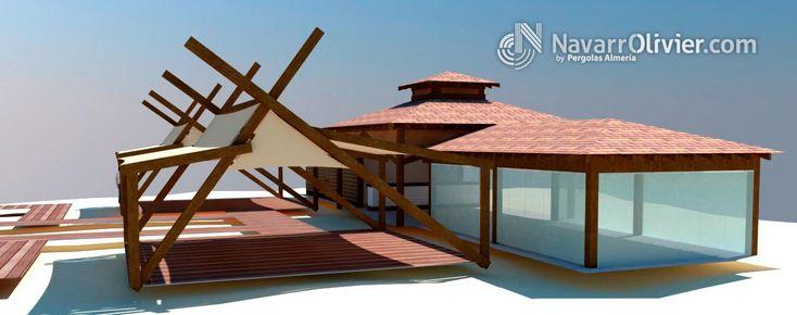 Proyecto de construcción de chiringuito de madera en playa, con terrazas cubiertas por toldos de diseño. navarrolivier.com  #infografia #proyecto #carpinteria #construccion #planos #chiringuito #navarrolivier #hosteleria #restauracion