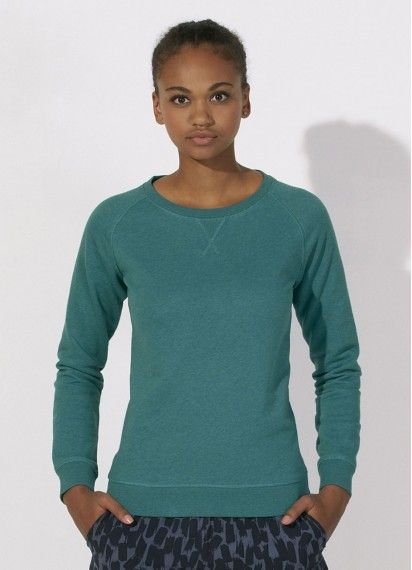 Joanne ladies' #crewneck #jumper in Mid Heather Teal. #fairtrade and made in Bangladesh/Pakistan from a blend of 85% #organiccotton and 15% polyester.