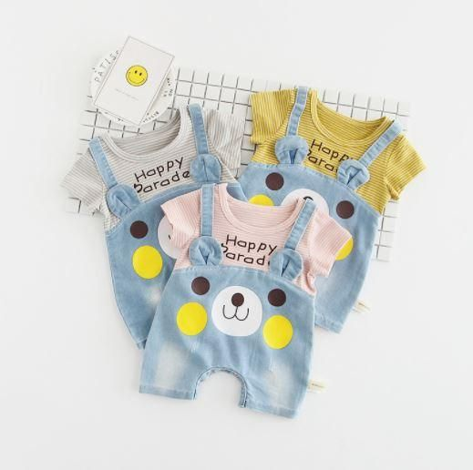 Adorable Denim Bear Face Overall Romper Available in 3 Colors Snaps at the bottom for easy wear Short-Sleeve