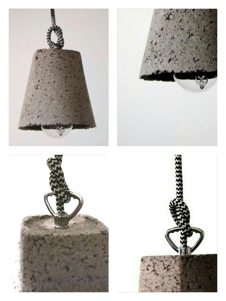 Lampara colgante en cemento liviano con cable textil