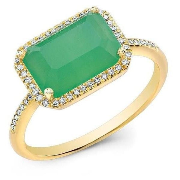 14kt yellow gold chrysoprase diamond chic ring ($789) ❤ liked on Polyvore featuring jewelry, rings, gold diamond rings, green diamond jewelry, gold jewellery, rectangle diamond ring and green diamond ring