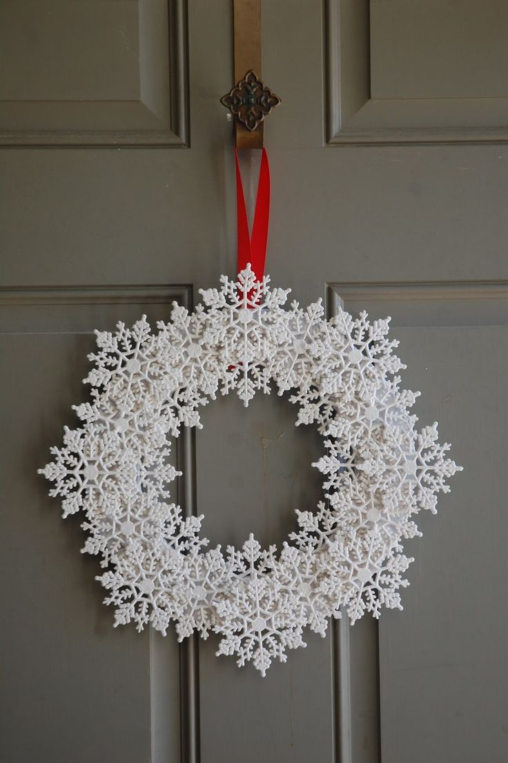 This looks like plastic snowflakes but would be gorgeous with crocheted stiffened snowflakes!                                                                                                                                                                                 More