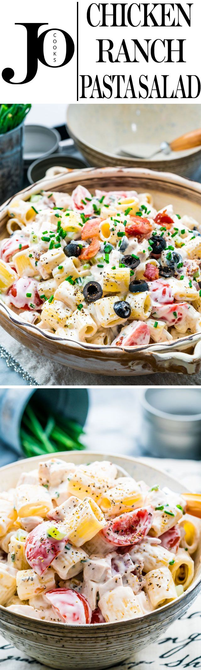 "This Chicken Ranch Pasta Salad is perfect for a BBQ, a picnic or a lunch. Loaded with chicken, bacon, tomatoes and olives and smothered in a creamy ranch, mayo and sour cream dressing, this will be your ""go to"" pasta salad this summer!"