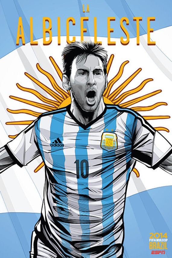 Argentina, Afiches fútbol Copa Mundial Brasil 2014 / World Cup posters by Cristiano Siqueira