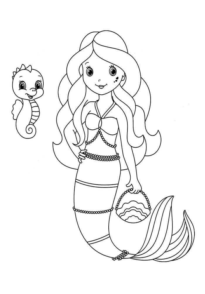 Little Mermaid With Her Little Pet Coloring Page Mermaid Coloring Pages Mermaid Coloring Mermaid Coloring Book