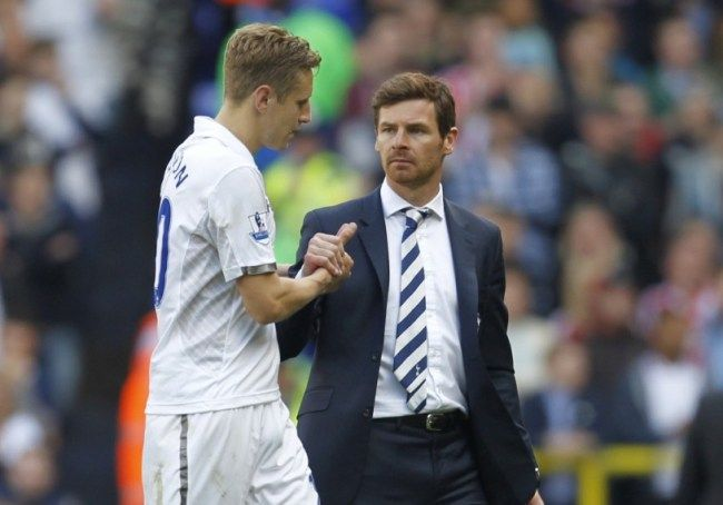 Tottenham Hotspurs English defender Michael Dawson (L) shakes hands with Tottenham Hotspurs Portuguese manager Andre Villas-Boas (R) during the English Premier League football match between Tottenham Hotspur and Sunderland at White Hart Lane in north London on May 19, 2013. Tottenham missed out on Champions League qualification to Arsenal despite Gareth Bales 90th-minute winning goal.