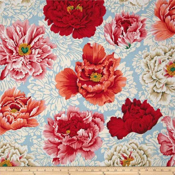 Kaffe Fasset Brocade Peony Natural from @fabricdotcom  Designed by Philip Jacobs for Westminster Fabrics, this cotton print is perfect for quilting and  craft projects as well as apparel and home décor accents. Colors include ivory, natural, yellow, fuchsia, pink, red, jade and sky blue.