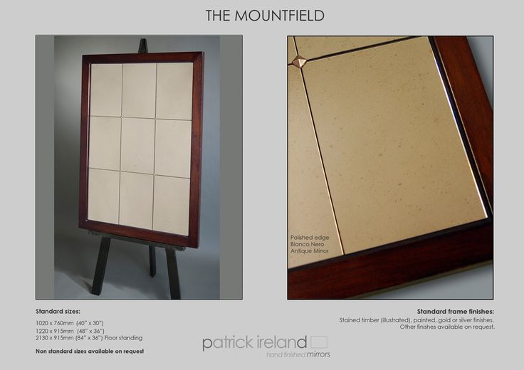 Hand Finished Framed Mirrors | The Mountfield Range.  Panelled Mirror with stained timber frame and antique mirror