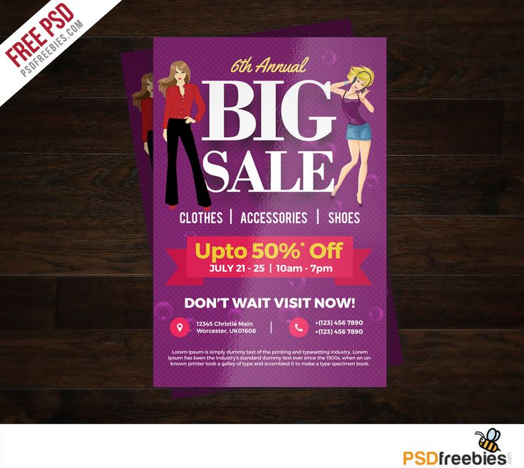 Download Big Sale Colorful Flyer Free PSD Template.This design will great for any type of business like retail sales business, fashion sales or boutiques who wants to promote a sale. This Big Sale Colorful Flyer Free PSD Template is 4 by 6 in and is ready for print, because it's in CMYK at 300 dpi. The psd file can be edited in Adobe Photoshop, and to be able to change the text.