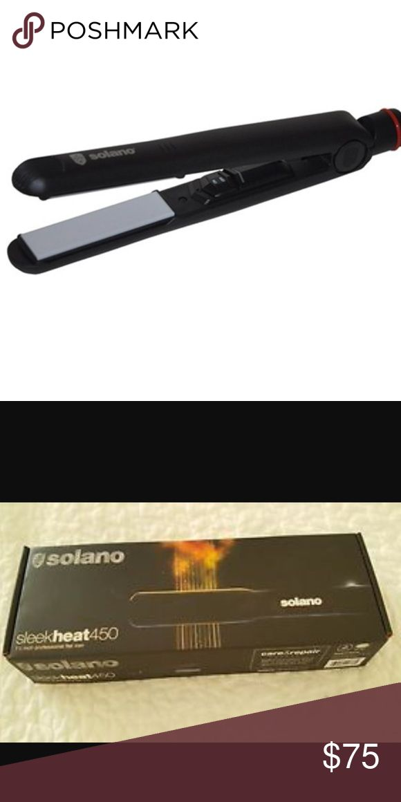 Solano Hair Iron 450 Degrees -Like New Straightner Solano Hair Iron - Like New - Sitting in Cabinet so SOLANO Letter Fading on Outside - Does not affect how hair iron works AT ALL - no box -   reaches to 450 degrees - swivel cord - can change temperature with dial - on off switch - great iron ! Solano Accessories