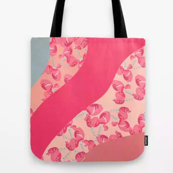 Tote Bag Spring colorful pattern with flower motifs in pastel and marble effects by anyeva @anyevaillustrations