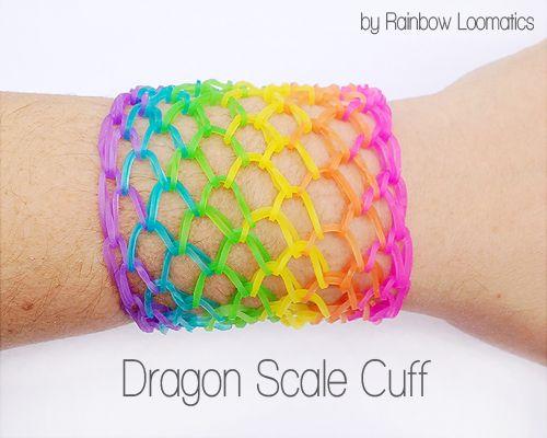 Rainbow Loom Dragon Scale Cuff Bracelet Rainbow Loomatics https://www.facebook.com/rainbowloomatics