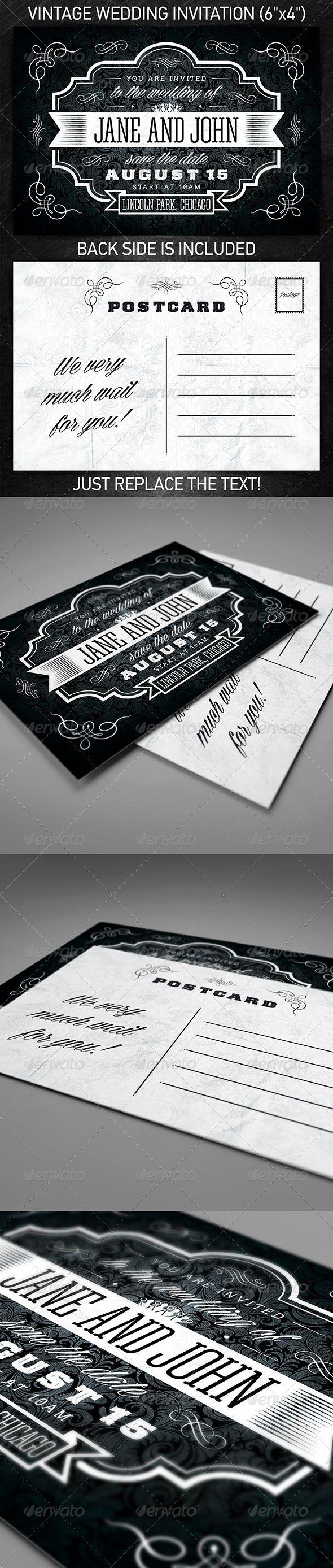 wedding invitation design psd%0A Vintage Wedding Invitation