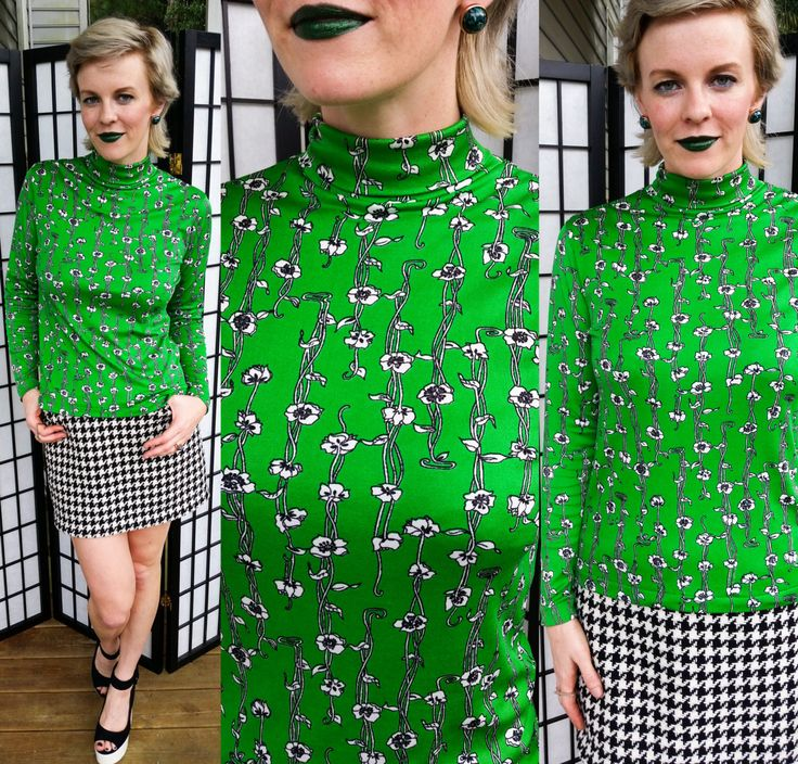 Retro 1970s Green TURTLENECK Long Sleeve Mod Kelly Green Floral Print medium Vintage Blouse |Allover One-Directional Print Cool Rad Fall Top by LadyLazarusVintage on Etsy