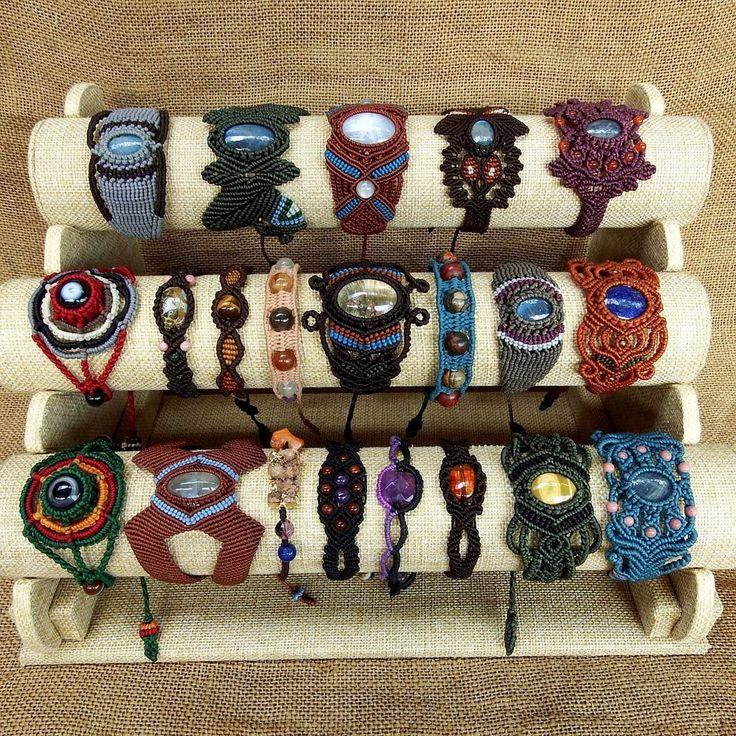 Clearance Sale Lot 21 Macrame Bracelets Wristband Amethyst Tiger Eye Moonstone #Handmade