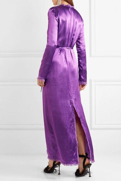 Attico - Raquel Frayed Satin Maxi Dress - Purple - 4