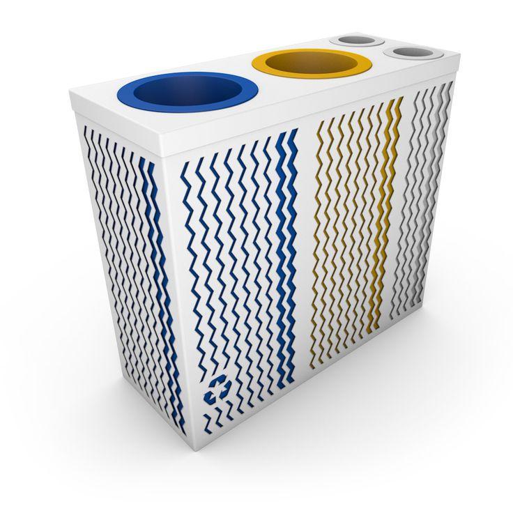 ALFA Poubelle de tri sélectif en entreprise avec collecteur gobelets ou canettes Blanc