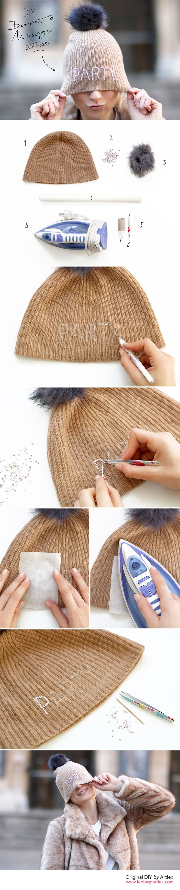 DIY bonnet à message // DIY bonnet pompon // Wool cap DIY // Swarovski DIY // Blog DIY Mode Lyon Artlex x @123modefemme