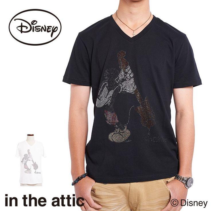 Tシャツ メンズ 半袖 Vネック ミッキーマウス ギター キャラクター Disney ラインストーン intheattic BRAND OFFICIAL SHOP - Yahoo!ショッピング - Tポイントが貯まる!使える!ネット通販