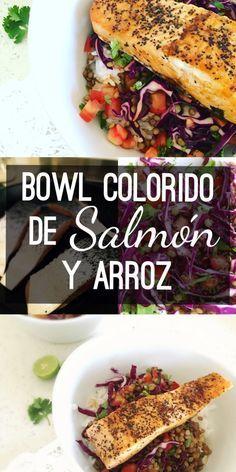 Bowl Colorido de Salmon y Arroz / Filete de salmón servido sobre una deliciosa ensalada de col morada, tomate, cilantro y lentejas, acomodado todo a su vez sobre una cama de arroz blanco al vapor y bañados en salsa de soya, limón y chipotle.