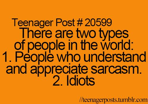 Teenager Post #20599: There are two types of people in the world: 1. People who understand and appreciate sarcasm. 2. Idiots.