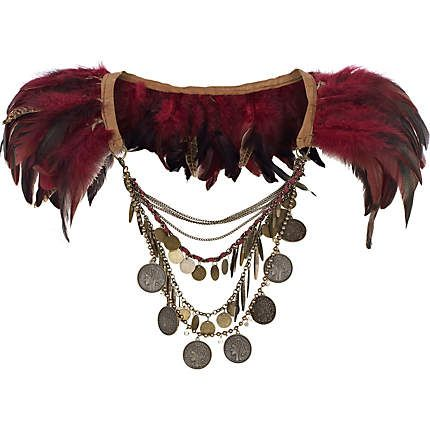 Dark red feather draped chain cape - body jewelry / capes - jewelry - women