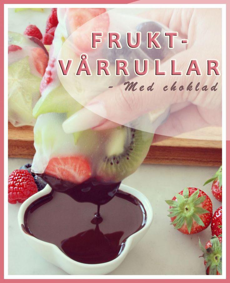 Frukt-Vårrullar med choklad! Hälsosamt, nyttigt, gott och framförallt enkelt att laga =) https://lailas.me/2017/08/24/frukt-varrullar-med-choklad/  #frukt #recept #vårrullar #hallon #blåbär #Jordgubb #choklad #kiwi #ananas #carambola #vindruvor #apelsin