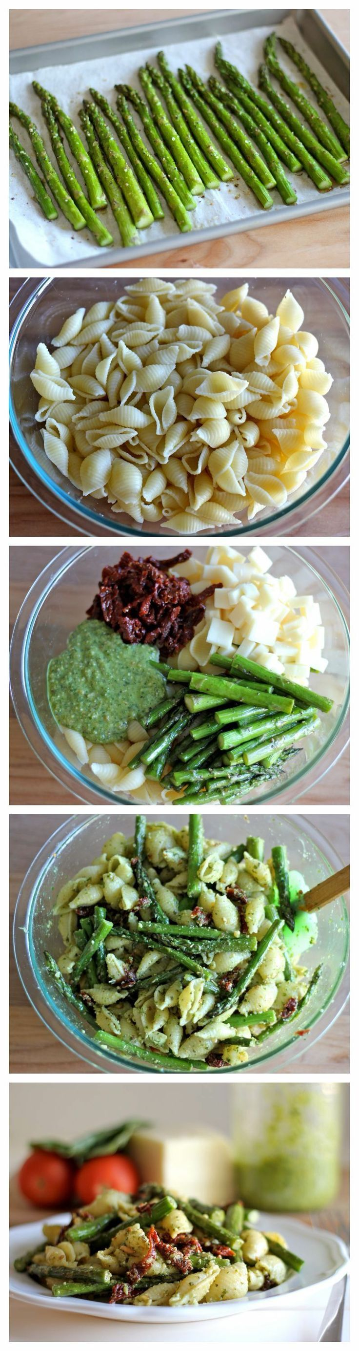 Pesto Pasta with Sun Dried Tomatoes and Roasted Asparagus   (I'd replace egg and cheese to make vegan!)