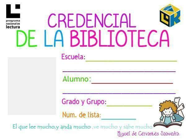 Ejemplo de credencial de biblioteca