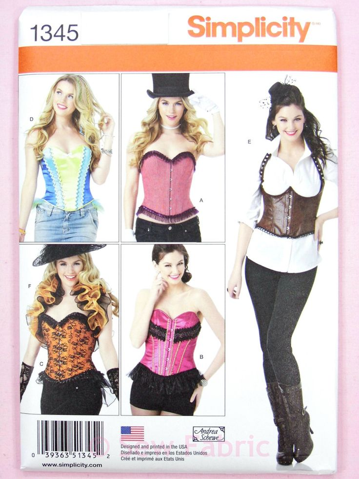 Simplicity 1345 Sewing Pattern - Misses' Corsets and Ruffled Shrug