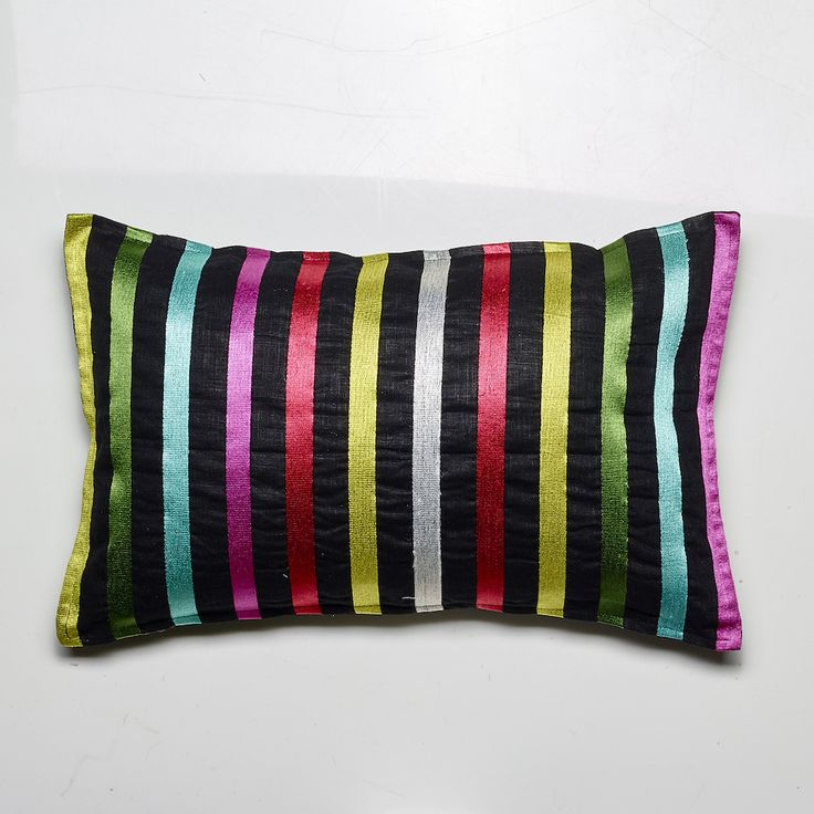 Pencil Stripes Cushion, Black linen with multi-coloured stripes, 55x35cm, Feather Filled - NEW LUXOTIC DESIGN - Buy It Now! - LUXOTIC