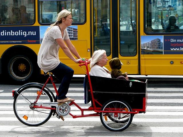 Copenhagen Cargo Bikes AWESOME Three Generations by Mikael Colville-Andersen via Flickr