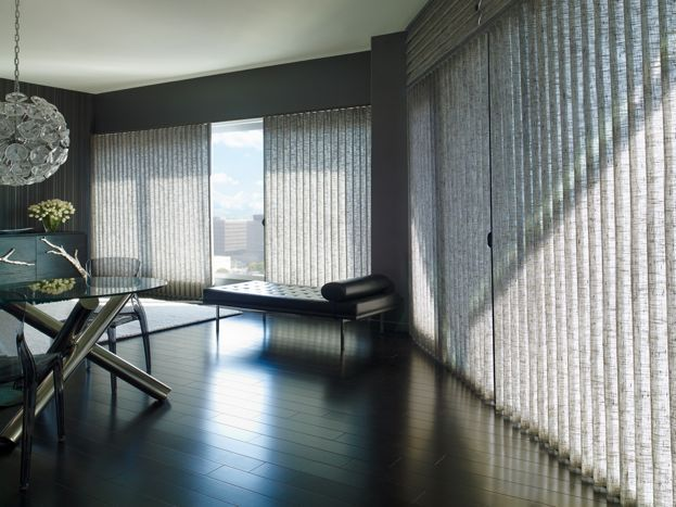 Light-filtering vertical blinds are great for large wide window spaces in common areas – control and diffuse the light as you please – blindsonline.net.nz