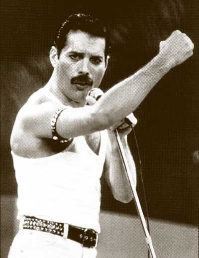 Freddie Mercury, Live Aid Concert, 1985. This performance by Queen was voted by a group of music executives as the greatest live performance in the history of rock music.