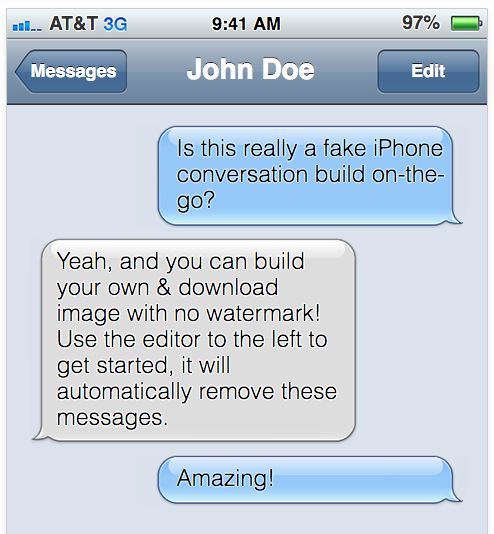 Fake text message for clues!