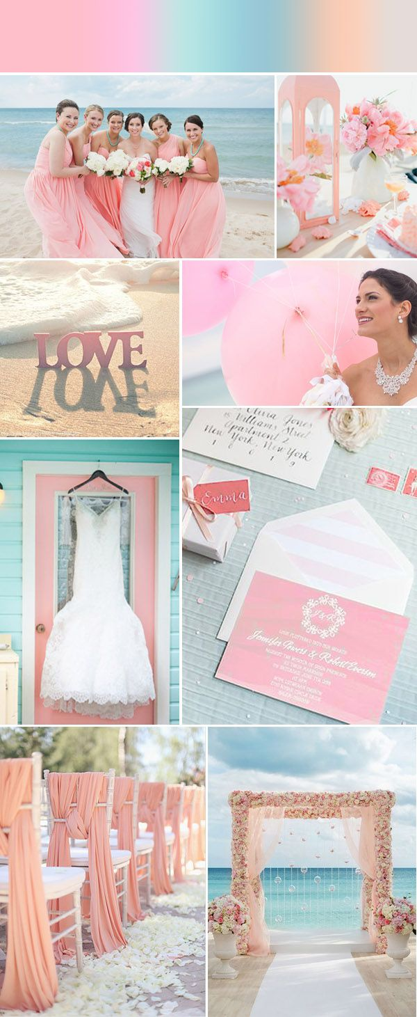 elegant coral pink beach wedding ideas and watercolor beach wedding invitations