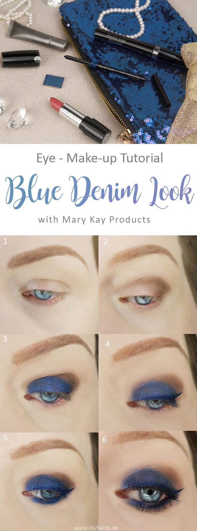 Augen  Make-up Tutorial in sechs Schritten zu einem Make-up. Step-by-Step Anleitung zum Blue Denim Look mit den Produkten von Mary Kay. Dazu gibt es noch eine Review zu diesen Produkten.