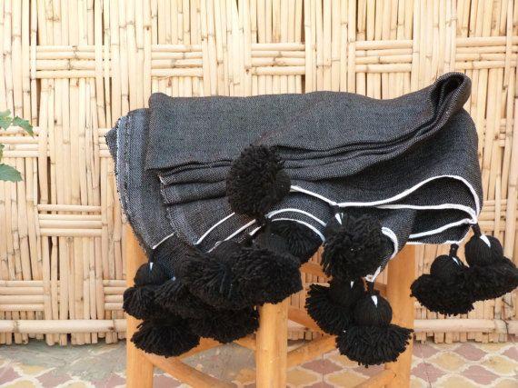moroccan pom pom blankets,throw blankets,bed spread,moroccan bedding,berber blankets,bohemian blanket