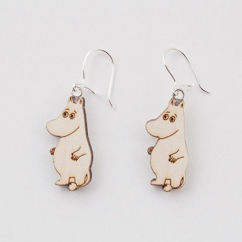 Moomin Wooden Earrings, Moomintroll by Showroom Finland