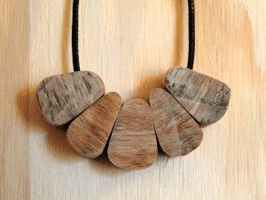 Recycled hardwood Pear-Drop necklace.