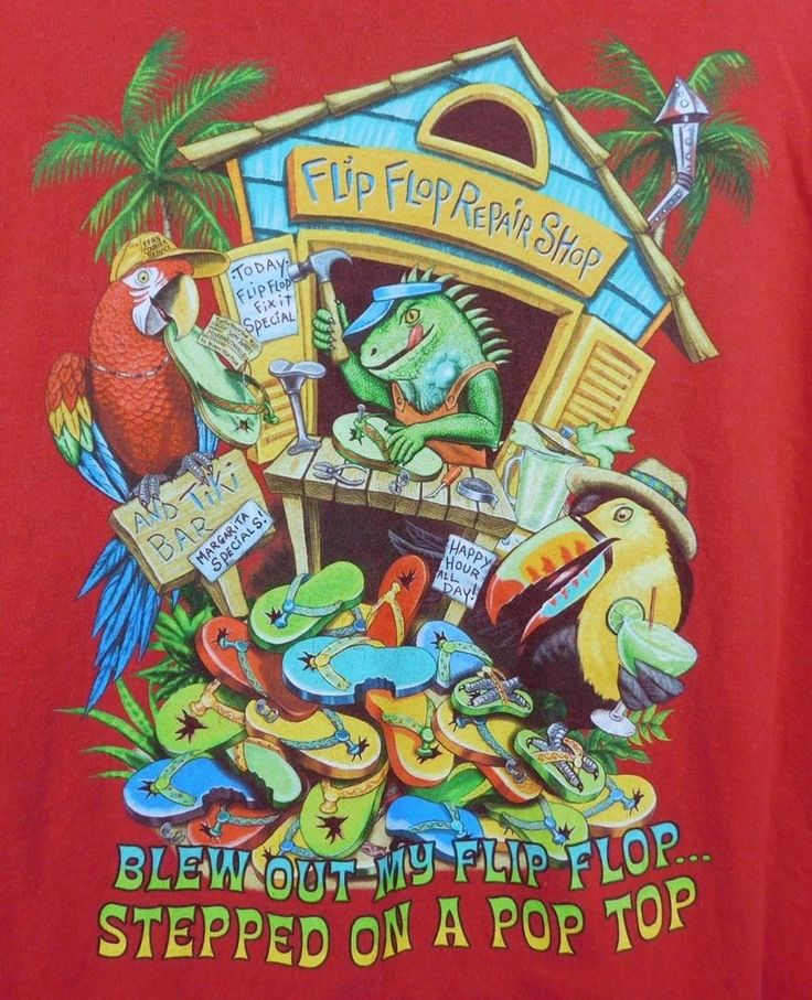 Margaritaville Graphic T-shirt XXL Red Flip Flop Repair Shop Negril Jamaica Hole #Margaritaville #GraphicTee