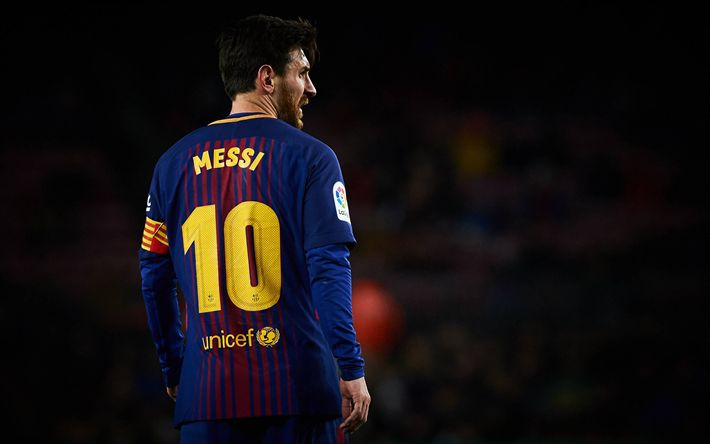 Download wallpapers Lionel Messi, from the back, match, FC Barcelona, La Liga, Spain, Barca, Messi, Barcelona, football stars, Leo Messi