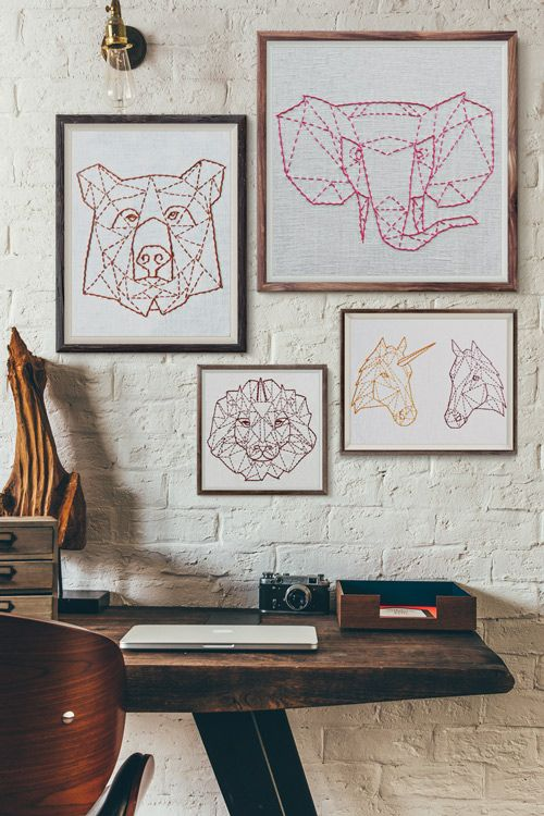 geometric animals embroidery hoop art