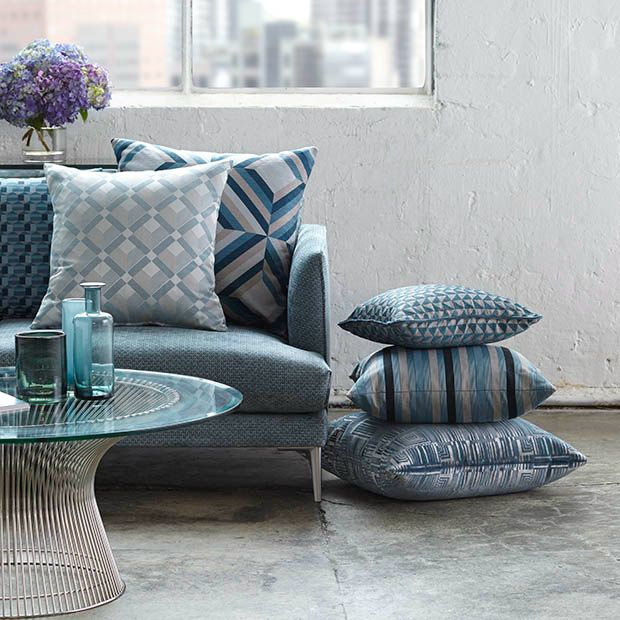 Need a grey and neutral colour to tie in the new teal sofa. A couple of the geometric cushions here could do that. Warwick LUXE
