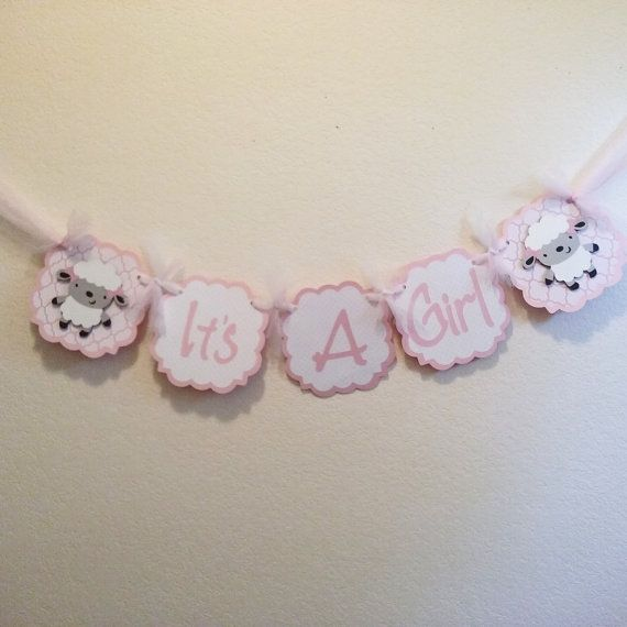 It's a Girl Banner Lamb Baby Shower Lamb Girl Baby