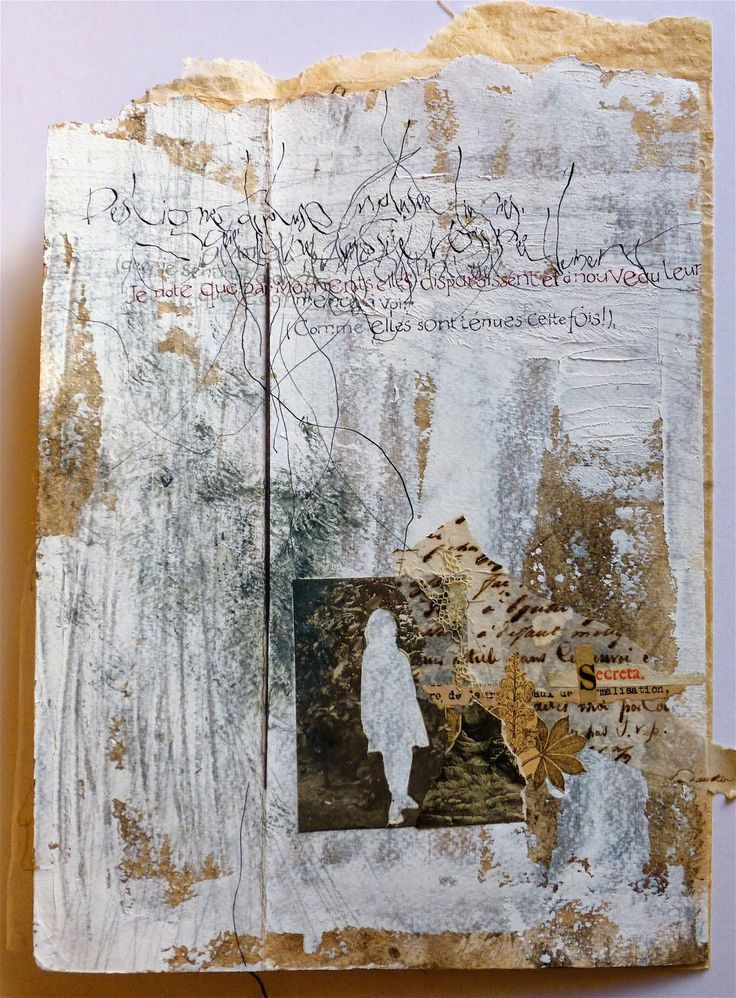 Stéphanie Devaux -  D'après un texte d'Henri Michaux Livre unique, collage, peinture et calligraphie. Blog: Textus: Les lignes