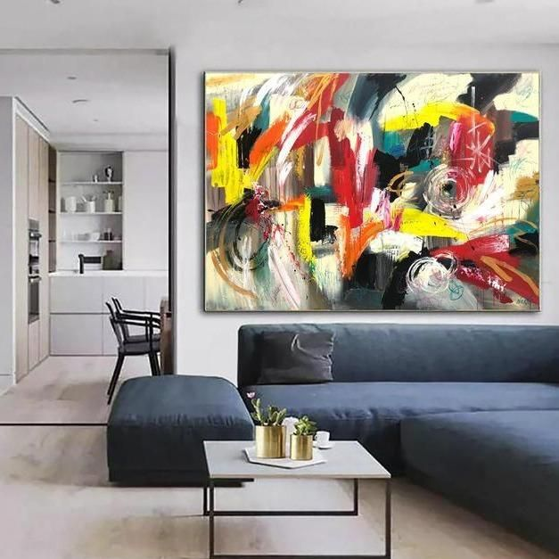 Oversized Abstract Painting Colorful Wall Art Acrylic Painting Unique Art Original Artwork Larg Colorful Wall Art Large Wall Decor Living Room Large Wall Decor