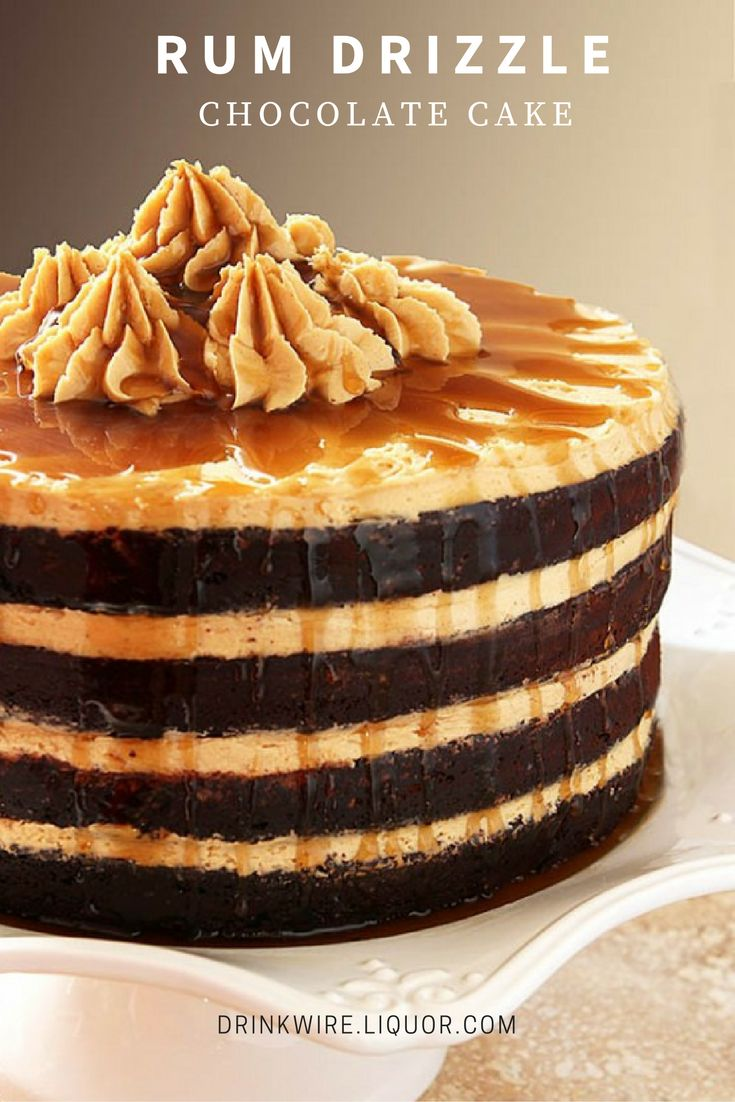 The Rum Drizzle Makes This Espresso Chocolate Cake with Peanut Butter Frosting Amazing! Because booze makes everything better.