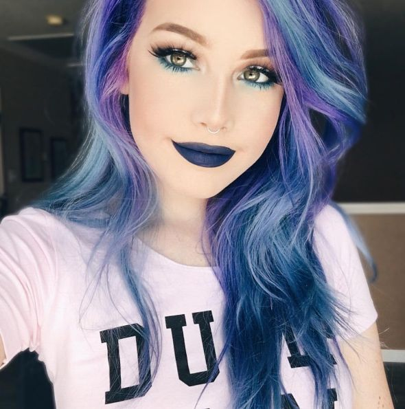 https://www.instagram.com/hailiebarber/  Beauty: Fantasy Unicorn Purple Violet Red Cherry Pink yellow Bright Hair Colour Color Coloured Colored Fire Style curls haircut lilac lavender short long mermaid blue green teal orange hippy boho ombré woman lady pretty selfie style fade makeup grey white silver trend trending  Pulp Riot