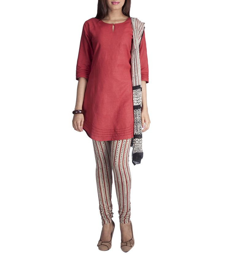 Red Block Printed Cotton Churidar Suit #georgette #fusionwear #jackets #printed